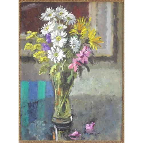 42 - Roy Pettitt (b. 1935) Oil on board,  A still life study of flowers in a vase on a table,  Ascribed v...