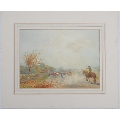 48 - Patrick Lewis Forbes, XIX-XX, Watercolour, Driving cattle on a country path in the Autumn, Signed lo...