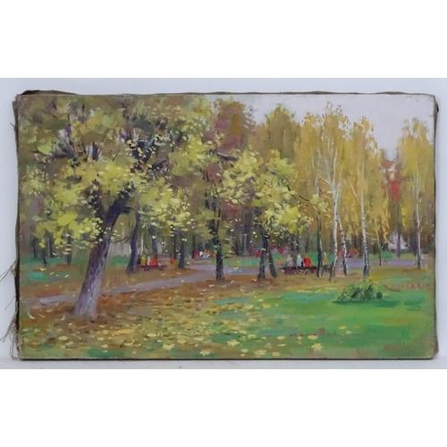 50 - Leonid Nikolayevich Sheludko, late XX, Ukrainian / Russian School,  Oil on canvas,  'Autumn',  A vie...