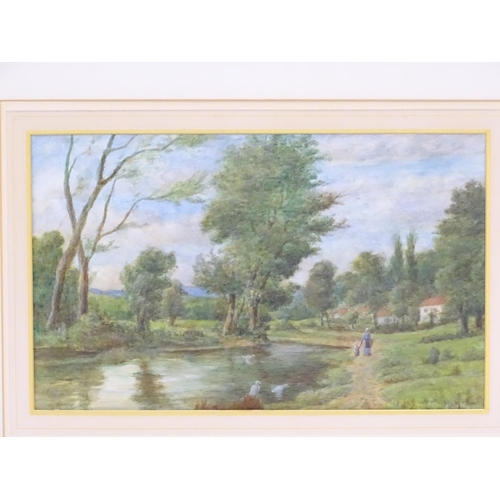 52 - XX, English School,  Watercolour,  A countryside river landscape with figures walking along a path a...