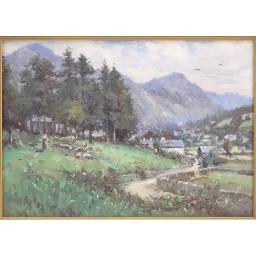 54 - XX, English School,  Oil on canvas,  A countryside scene depicting a village landscape with figures,...