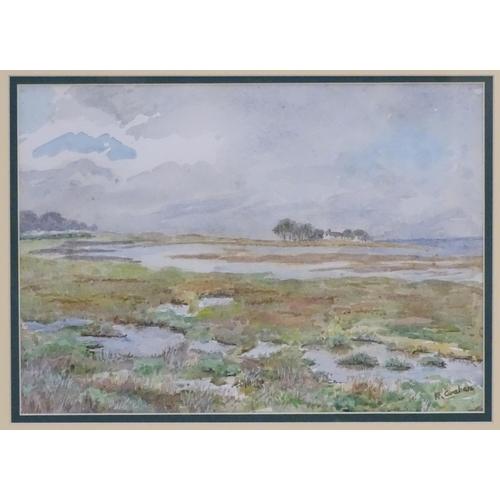 55 - Joyce Platt, XX,  Watercolour,  Study for Creswick,  A farmstead in a landscape with hills beyond. S...
