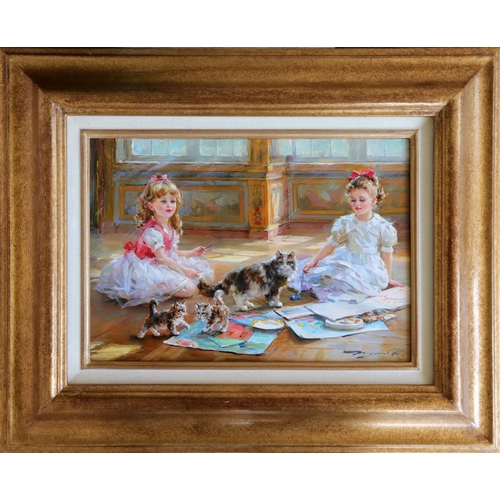 "Konstantin Razumov (b. 1974), Russian School, Oil on canvas, Two little girls playing on the floor, An interior scene with two young girls painting and a cat and kittens. Signed lower right. Approx. 9 1/2"" x 13 3/4"""