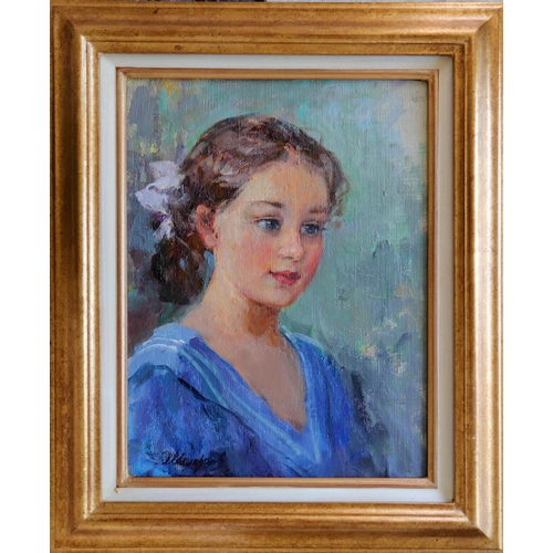 29 - Mikhail Petrovitch Jeleznov (1912-1978), Russian School, Oil on canvas, A portrait of a young girl i...