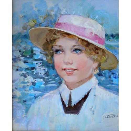 30 - Nikolai Nikolaievitch Baskakov (1918-1993), Russian School, Oil on canvas, The New Hat, A portrait o...