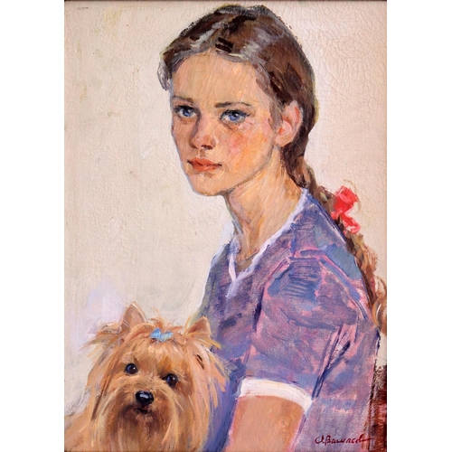 31 - Anatoli Ilich Vasiliev (1917-1994), Russian School, Oil on canvas, A portrait of a young girl with h...