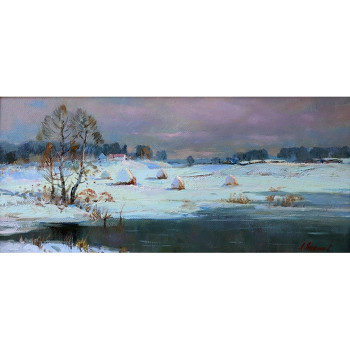 59 - Anatoli Nikolaievich Ladnov (b 1935), Russian School, Oil on cardboard, Frosty Day, A winter landsca...