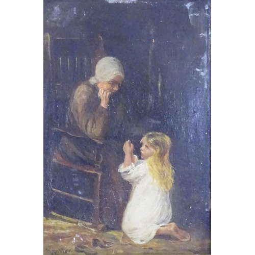 1 - W. Hunter, XIX, Oil on board, An interior scene with a young girl and an elderly lady. Signed lower ...
