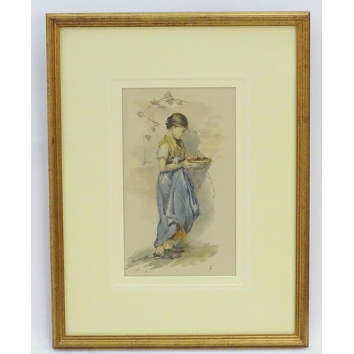 13 - Myles Birket Foster (1825-1899), English School,  Watercolour,  A portrait of a young woman carrying...