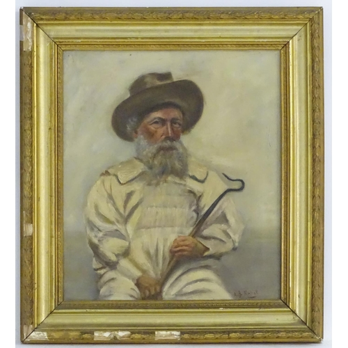 3 - A. J. Metral, XX, Oil on canvas, A portrait of a shepherd, a bearded man in a hat, holding a crook. ...