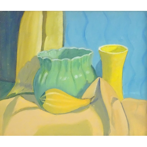 37 - J. M. Leith, XX, English School, Oil on board, An abstract still life study of vegetables and vases....