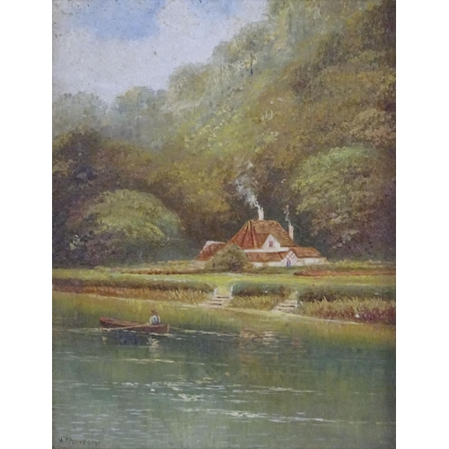 43 - H. Church, XX, English School, Oil on board, Cliveden Ferry, Buckinghamshire, A scene depicting a ma...