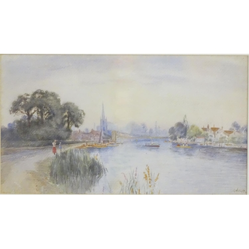 45 - A. Allan, XX, English School, Watercolour, A view of Marlow from the river Thames with figures on a ...