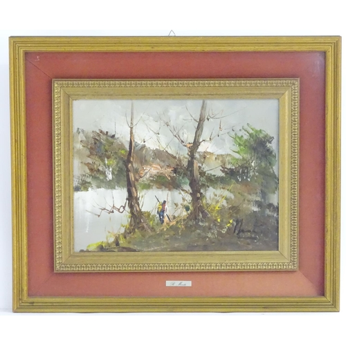 47 - R. Monti, XX, Italian School, Oil on board, A figure on the wooded bank of a river. Signed lower rig...