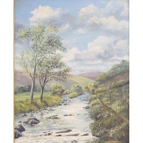 57 - Kenneth Butterfield, XIX-XX, English School, Badgworthy Water, near the Doone Valley, A landscape sc...