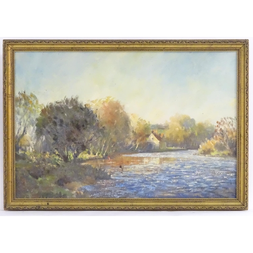 60 - English School, XX, Oil on canvas laid on board, A wooded river landscape with a cottage on bank. Ap...