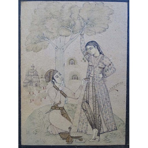 9 - Indian Mughal School, XVIII-XIX, Nimqalam pen, coloured ink and wash on paper, A young Indian prince...