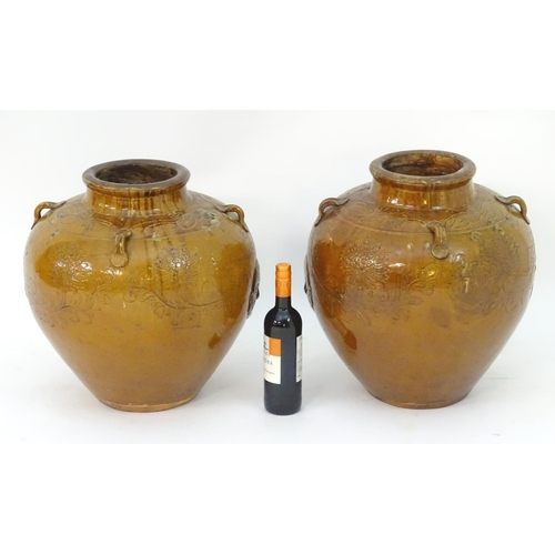 23 - A pair of large Chinese earthenware salt glaze vases with applied handles and incised decoration dep...