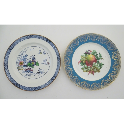 27A - A quantity of assorted plates, two Booths plates in the pattern Netherland, three with floral decora...