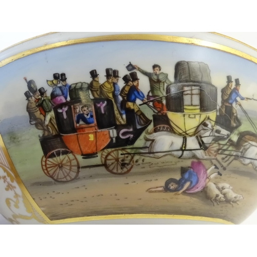 27 - An English 19thC porcelain bowl with hand painted coaching scenes within scrolling gilt borders. Gil...