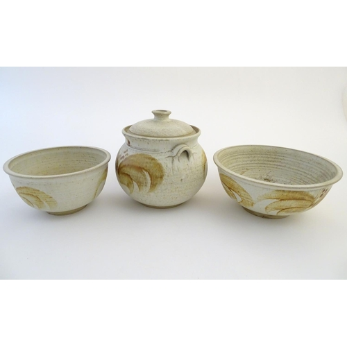 42 - Three items of studio pottery by Ernest Bernard Jones of Beaford, North Devon, comprising two bowls ...