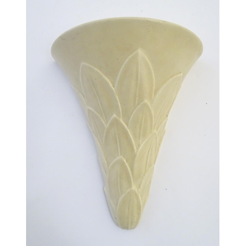 48 - A Gray's pottery Art Deco style wall pocket / vase with leaf decoration. Marked verso. Approx. 9