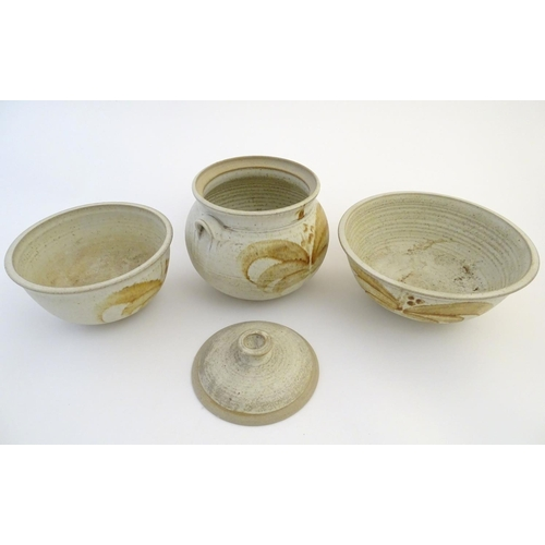 48 - Three items of studio pottery by Ernest Bernard Jones of Beaford, North Devon, comprising two bowls ...