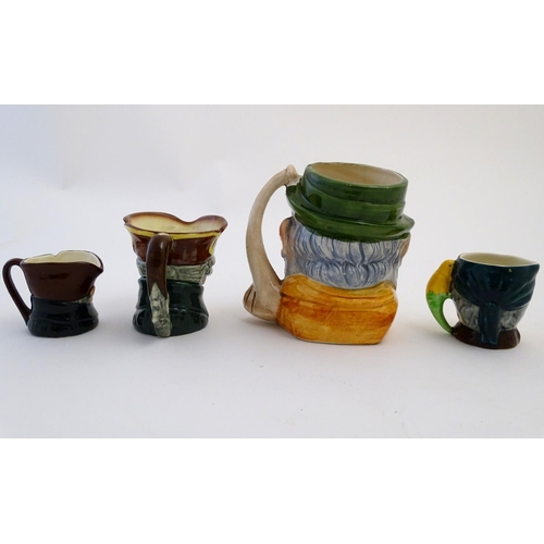 30 - Four assorted character jugs, to include two Royal Doulton examples, one formed as Old Charley; a Sa...