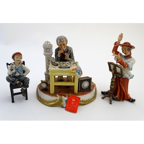 46 - Three Italian Capodimonte figures, to include A watch / clock maker / repairer (no. 138/8), A cardin...