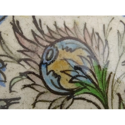 58 - Two Persian tiles of octagonal form decorated with stylised birds and flowers within a blue border. ...