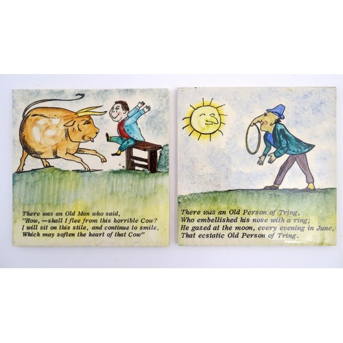 37 - Two Florian Studio tiles decorated with Edward Lear limericks and illustrations, to include 'There w...