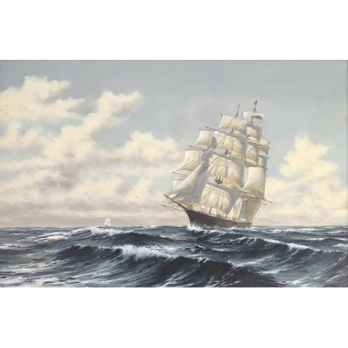 1230 - P Davis, XX, Marine School, Red Jacket at sea, A clipper ship under full sale at sea. Signed lower r...