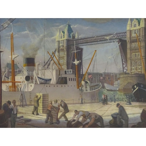 1230A - Gloria Jarvis (1925-2014), Oil on canvas, Tower Bridge, Men unloading a ship's cargo at the London w...