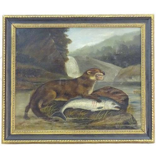 "H. Windred, XIX, Oil on canvas, A river landscape scene with an otter with its prey, a salmon, with otter cubs in a nest on the bank. Signed and dated 1878 lower left. Approx. 23 3/4"" x 26 3/4"""