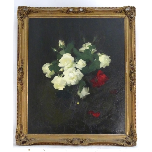 1459 - Stuart Park (1862-1933), Scottish School, Oil on canvas, A still life study of white and red roses. ...