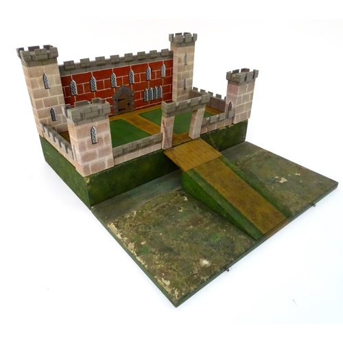 828 - Toy: A WW2 (World War Two) era scratch built model of a four turreted castle with draw bridge, the d...