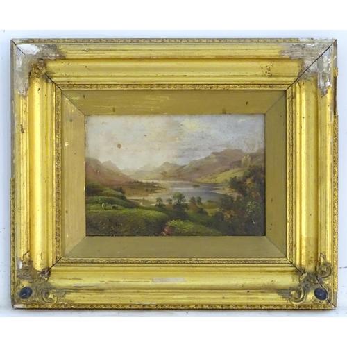 1460 - Arthur Gilbert (1819-1895), English School, Oil on board, A mountainous Scottish landscape scene wit...
