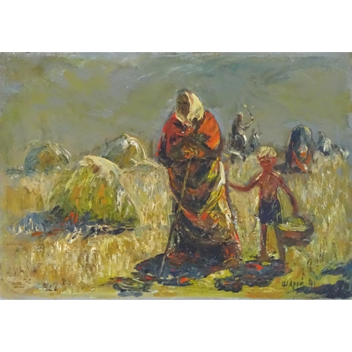 1462 - Anatoly Shariy, XX, Ukrainian School, Oil on board, Harvest, Figures harvesting crops in a field. Si...