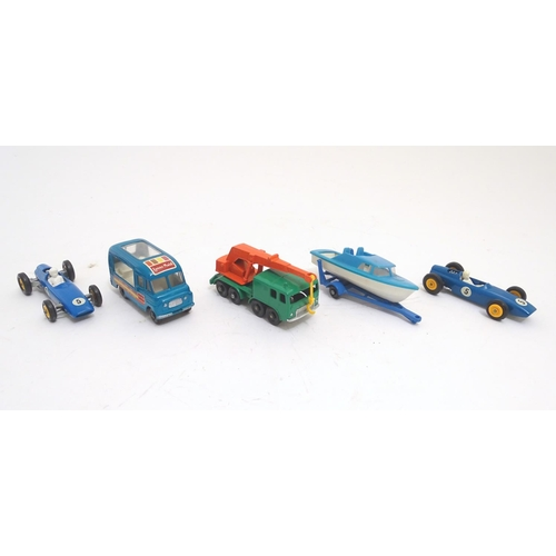 741 - Toys: Five Lesney Matchbox Series die cast scale model vehicles, boats, trucks, cars etc. Comprising...