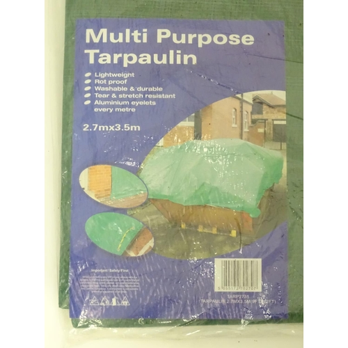 9 - A 9 ft x 12ft  green multi purpose tarpaulin...