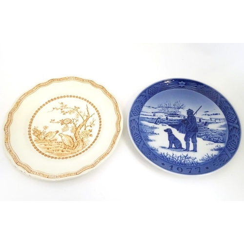 15 - Two game / shooting plates comprising a Royal Copenhagen 1977 Immervad Bridge plate and a Furnivals ...
