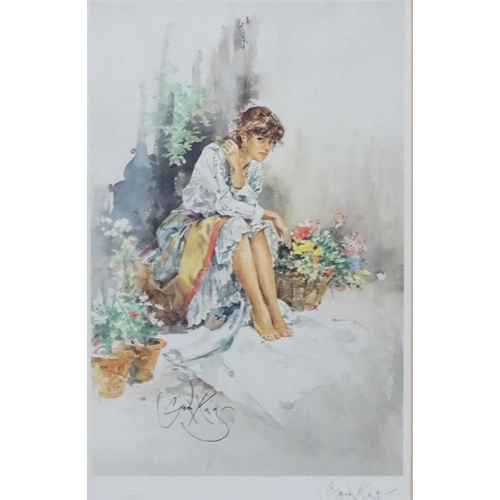 21 - After Gordon King (1939 - ), Colour print (2), ' Suzi ' and 'Selina'   Signed in pencil by the artis...