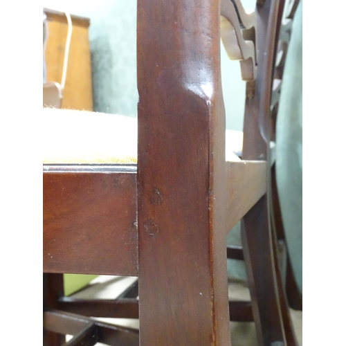 27 - Two 19thC mahogany ladder back chairs. Approx. 36 1/2