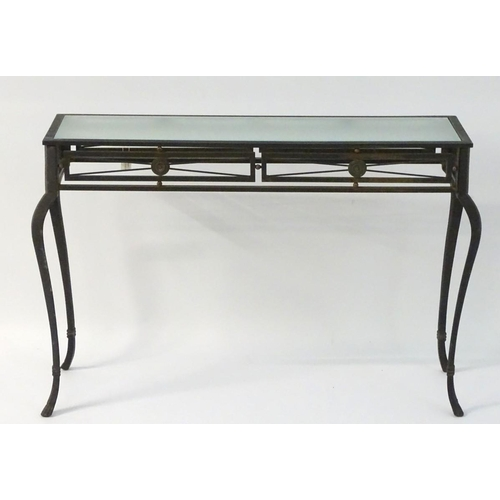 30 - Vintage Retro: a powder coated hall table with plate glass top, ornate cabriole legs and frieze deco...