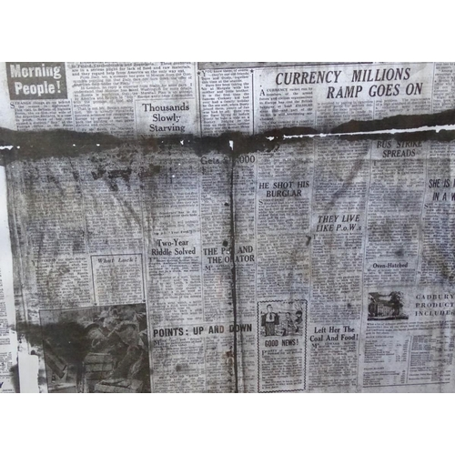 42 - Three framed prints of The People newspaper from 1940s. Each approx. 34