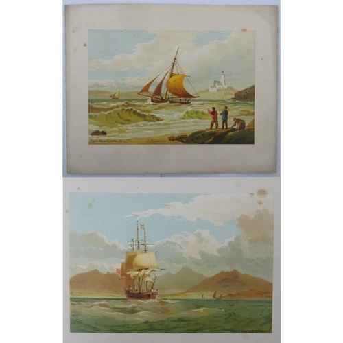 49 - After Edward Duncan Marine School, Chromolithographs, Fishing boat in rough sea off coast, Large sai...