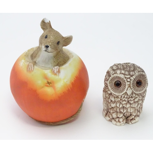 57 - Ornament of a mouse in an apple together with a model of an owl (2)...