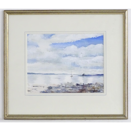 1570 - Sheila Perkins, XX, Mixed media on paper, Island on the Shore, A coastal scene. Ascribed verso. Appr...