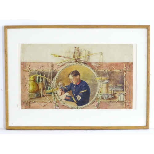 1571 - XIX, Watercolour, A portrait of a French customs / excise officer within a central decorative rounde...