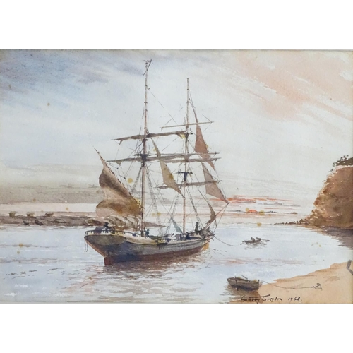 1572 - Anthony Gregson, XX, Watercolour and ink, x2, Sailing ships / galleons off the shore at sunrise / su...